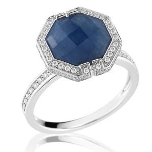 Patras Octagonal Blue Sapphire Ring