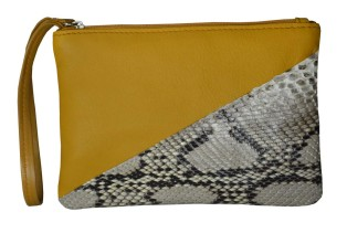 Briana Python Sikin & Mustard Yellow Leather Medium Wristlet - $90 image via candywoolley.com