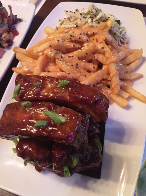 Hawaiian Sticky Ribs with Umami Fries and Slaw - an amazing array of flavors...my favorite dish so far