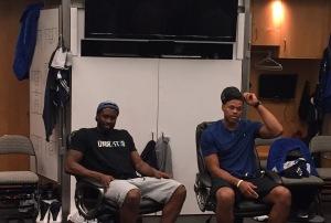 Dallas Mavericks Wesley Matthews (l) and Justin Anderson (r)