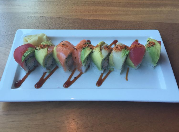Rainbow Roll - yellowfin tuna, hamachi, salmon, crab, avocado and soy