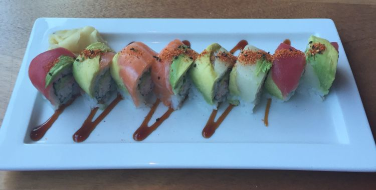 Rainbow Roll - yellowfin tuna, hamachi, salmon, crab, avocado and soy